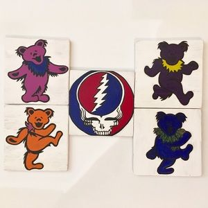 Set of 5 handmade deadhead coasters